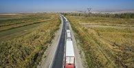 Ак-Тилек (Казакстан тараптан Карасу) көзөмөл өткөрүү пунктунда жүк ташуучу унаалардын узун кезеги түзүлгөн. Архивдик сүрөт