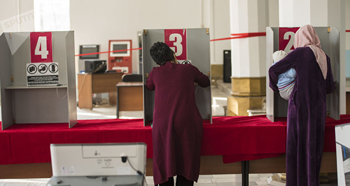 Избиратели в кабинке голосуют на участке. Архивное фото