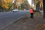 Бишкекте Тазалык ишканасынын кызматкери. Архивдик сүрөт