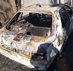Последствия поджога автомобиля в селе Маевка Аламудунского района