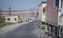 Пробка из фур на границе между Кыргызстаном и Казахстаном на КПП Ак-Тилек. Архивное фото