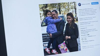 Лидер парламентской фракции Республика — Ата-Журт Омурбек Бабанов с девочкой, которая плакала, узнав, что он не стал президентом. Фото со страницы Instagram, пользователя babanov_president