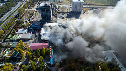 Пожар в кафе Ганбей в районе парка Асанбай
