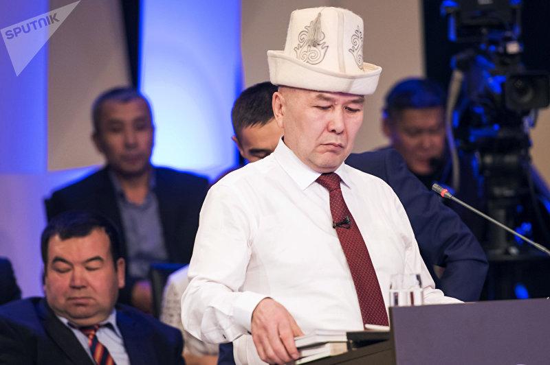 Учредитель и генеральный директор ОсОО Ауирдин Арстан Алай Абдылдаева во время дебатов кандидатов в президенты на канале КТРК