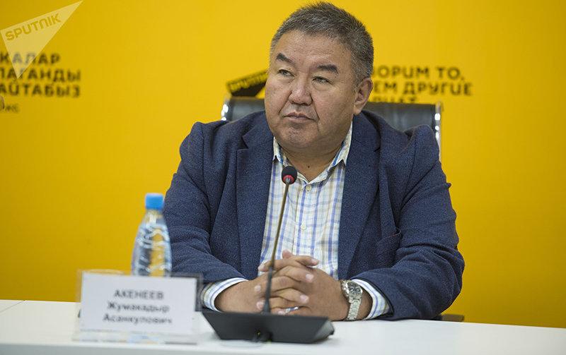 Доктор экономических наук Жумакадыр Акенеев в ходе видеомоста в мультмедийном пресс-центре Sputnik Кыргызстан