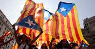 Сторонники независимости Каталонии во время митинга