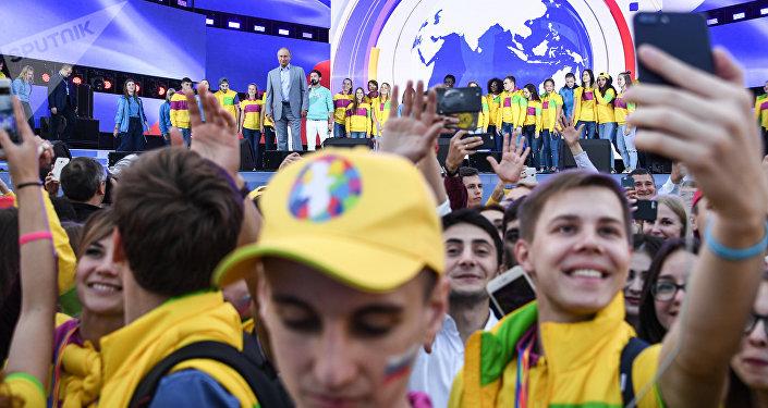 Президент РФ В. Путин посетил XIX Всемирный фестиваль молодежи и студентов
