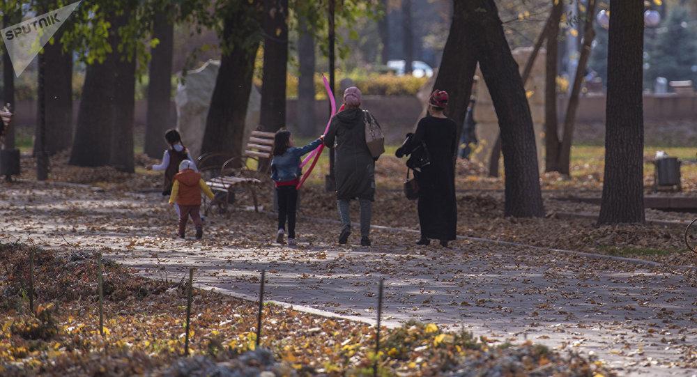 Горожане в Дубовом парке в Бишкеке. Архивное фото