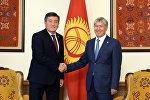 Өлкө башчы Алмазбек Атамбаев жаңы шайланган президент Сооронбай Жээнбеков менен жолукту