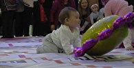 Как малыши в Бишкеке соревновались в ползаньи на скорость — милое видео