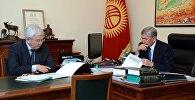 Президент Алмазбек Атамбаев Улуттук банктын төрагасы Кубанычбек Кулматовду кабыл алып, ага сомдун наркын туруктуу сактоо тапшырмасын берди