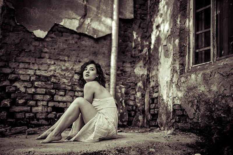 Модель во время съемок фотографа Наиля Насритдинова