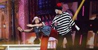 Участники международного шоу Ты супер! Танцы из КР Нуриза Кочкомбай кызы и из Азербайджана Джейхун Ага-Тагиев во время выступления