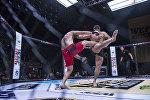 Мурод Хантураев (Узбекистан) и Константин Андрейцев (Россия) во время боя на турнире WEF Global 10: Воины великого шелкового пути в Бишкеке