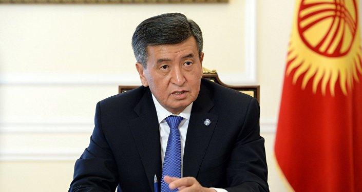 Президент КР Сооронбай Жээнбеков во время первого совещания с руководством Аппарата. Архивное фото