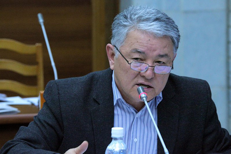 Экс-депутат Жогорку Кенеша от фракцииАта Мекен Райкан Тологонов во время заседания