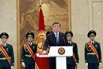 Избранный Президент КР Сооронбай Жээнбеков в ходе торжественной церемонии инаугурации в доме приемов Энесай Государственной резиденции Ала-Арча.