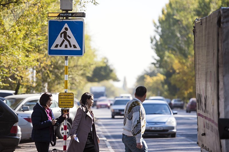 Стробоскоп на улице Льва Толстого в Бишкеке для облегчения пешеходов