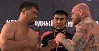 Дуэль взглядов и обещания порвать — взвешивание бойцов MMA в Бишкеке