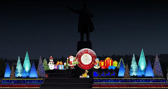 Новогодняя елка в городе Ош