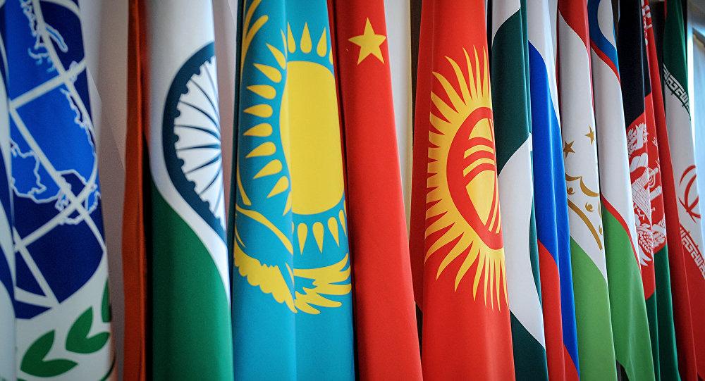 Флаг стран государств-членов Шанхайской организации сотрудничества. Архивное фото