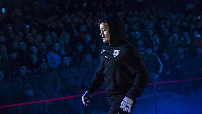 Участник турнира JFC Fight Night 2017 (БК Жаш Куч) Мыктыбек Мамасалиев (Аю) во время турнира JFC MMA 3 в Бишкеке