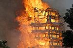 В Китае загорелась пагода, которая считается одной из самых высоких построек из дерева в мире