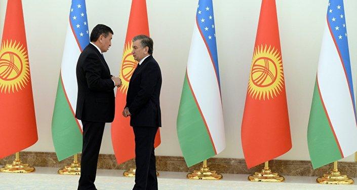 Архивное фото президента Кыргызстана Сооронбая Жээнбекова на встрече с главой Узбекистана Шавкатом Мирзиёевым в рамках официального визита