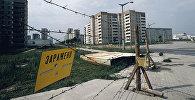 Ограждения на улицах города Припяти в Киевской области после аварии на Чернобыльской АЭС. 1986 г.