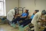Военнослужащие ОДКБ Кант сдали кровь для пациентов бишкекских медучреждений