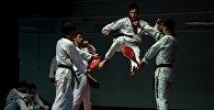 Спортсмены на занятиях по каратэ. Архивное фото