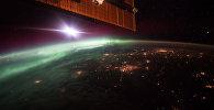 Фотография полярного сияния, сделанная с борта Международной космической станции.