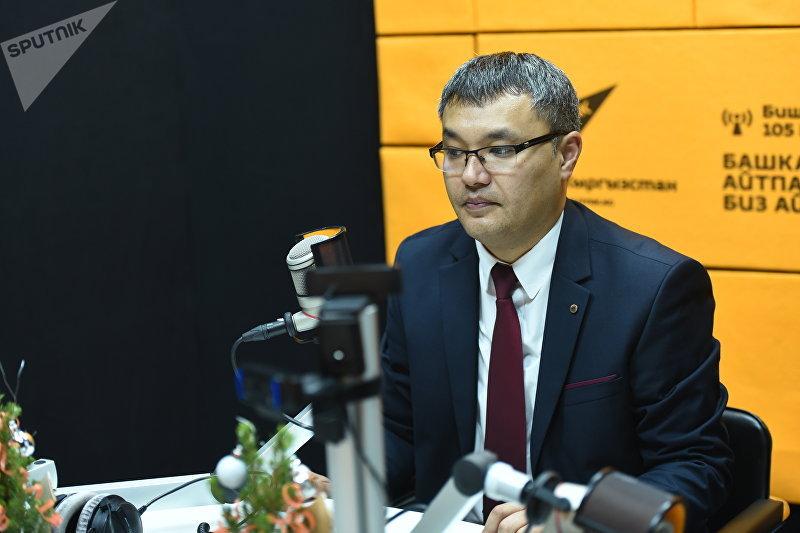 Заместитель министра экономики Кыргызской Республики Данияр Иманалиев во время беседы на радио Sputnik Кыргызстан