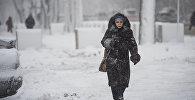 Женщина идет по улице во время обильного снегопада в Бишкеке. Архивное фото