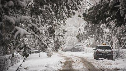 Припаркованный автомобиль на проспекте Эркиндик во время снегопада в Бишкеке. Архивное фото