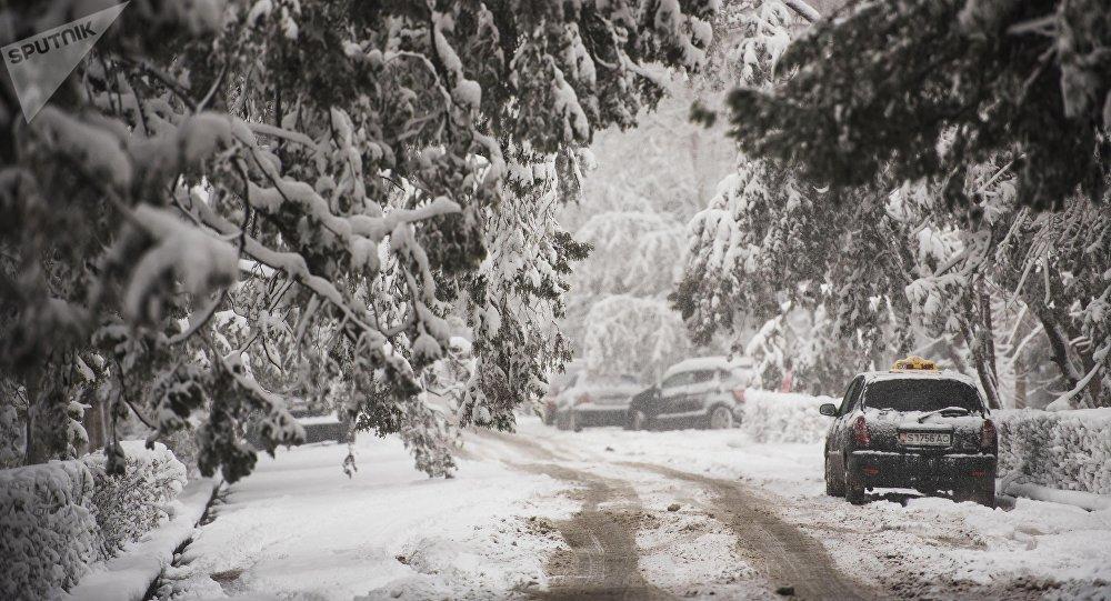Припаркованный автомобиль во время снегопада. Архивное фото