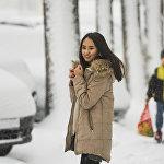 Обильный снегопад в Бишкеке