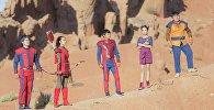 Актеры во время съемок первого в Кыргызстане детского фантастического фильма Жетикс
