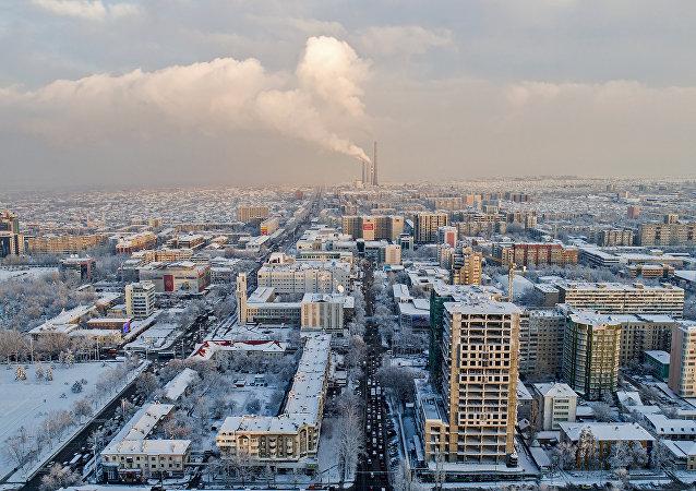 Вид с высоты на жилые дома в Бишкеке. Архивное фото