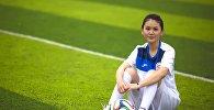 Бомбардир сборной Кыргызстана по футболу Айдана Оторбаева. Архивное фото