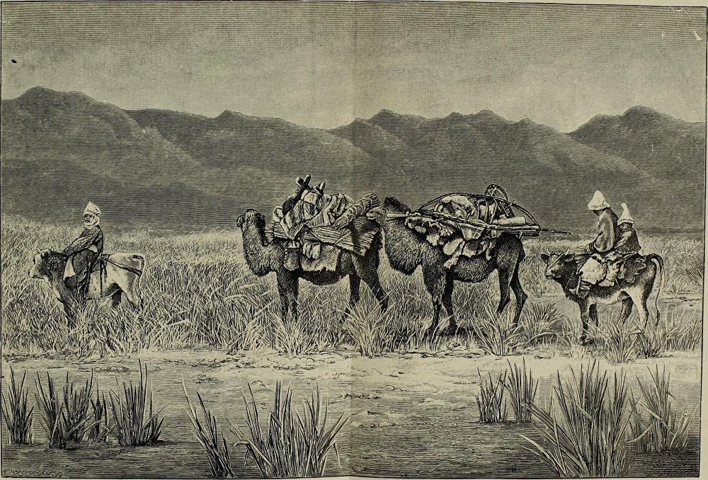 Көчмөн кыргыз үй-бүлөсү Сары-Камышка көчүп баратат. Оштун Кара-Кулжа районунда жайгашкан бул аймактын аталышы азыр деле ушундай