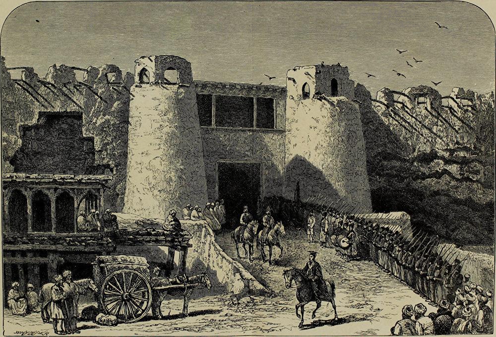 Шахрисабз чеби. Сүрөтчү бул сүрөттү Бухара эмири менен жолугушуудан кийин тартып алган