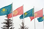 Флаги Кыргызстана и Казахстана. Архивное фото