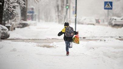 Мальчик бежит по улице во время обильного снегопада в Бишкеке. Архивное фото