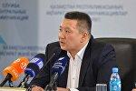 Представитель Казахстанской ассоциации блокчейна и криптовалюты Есет Бутин во время пресс-конференции