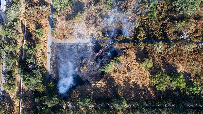 Пожар в южном Ботаническом саду в Бишкеке. Вид с высоты