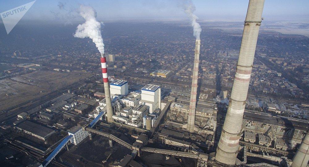 Вид на Бишкекский теплоэлектроцентраль с высоты. Архивное фото