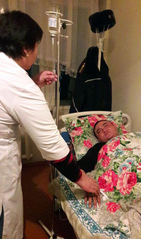 Работник ошского УОБДД в больнице после, того как попал в ДТП