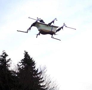Человек в летающей ванне — видео испытания необычного дрона в Германии