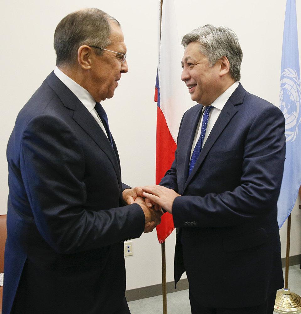 Министр иностранных дел КР на встрече с главой МИД РФ Сергеев Лавровым в Нью-Йорке